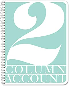 """BookFactory 2 Column Account Book/Ledger Book/Accounting Ledger/Notebook (2 Columnar Book Format) - 100 Pages, 8.5"""" x 11"""", Wire-O (LOG-100-7CW-PP-(Accounting-2))"""