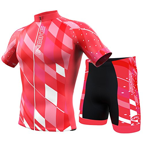 INBIKE Women's Summer Breathable Cycling Jersey and 3D Silicone Padded Shorts Set Outfit, Red, (US)L-(CN)XXL