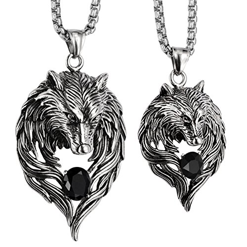 His N Hers Halloween Costumes (Angel Jewelry Men's Women's Couple Necklaces Stainless Steel Wolf 20