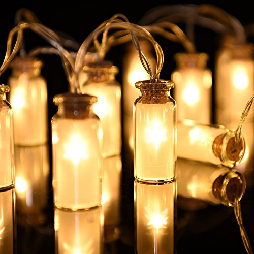 Glass String Lights Outdoor : Oak Leaf Solar String Lights,30 LEDs Waterproof Glass Jar LED Fairy Decoration Lights for ...