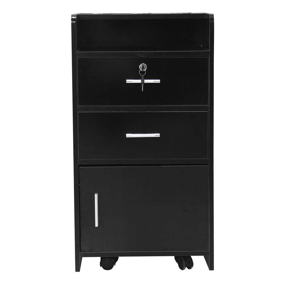 Salon Wood Rolling Drawer Cabinet Trolley Spa 3-Layer Cabinet Equipment with A Lock Black & White (Black) by hellowland (Image #2)