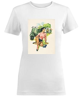 Vespa Scooter Girl Retro Poster Small Damen T-shirt