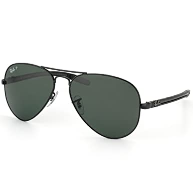 bf04cd73dc Ray-Ban RB 8307 002-N5 58 Unisex Aviator Tech Carbon Fiber Black Metal  Frame Green Polarized Lens Sunglass  Amazon.co.uk  Clothing