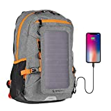 Sunnybag Explorer+ Solar Backpack   World's Strongest Solar Panel for Charging Smartphones and All USB-Devices on The go   15l Volume and 15'' Laptop Compartment   Gray/Orange
