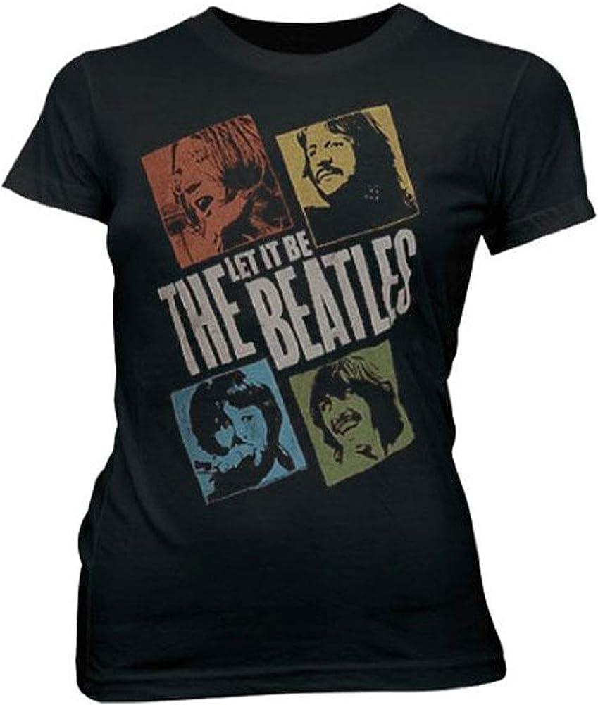 Junk Food The Beatles Photo Blocks Black Wash Juniors T-Shirt Tee (Juniors Large)