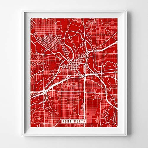 Fort Worth Texas Map Print Street Poster City Road Wall Art Home Decor