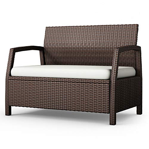 (Patio & Garden Furniture) Outdoor Rattan Loveseat Bench Couch Chair with Cushions Patio Furniture Brown