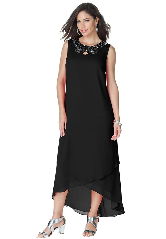 Roamans Womens Plus Size Mesh Dress Black Abstract Print 14 W At