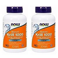 Now Foods Neptune Krill 1000 Fish Oil 1000 Milligram, 60 Softgels (2 Pack)