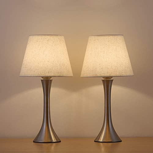 HAITRAL Silver Nickel Bedside Lamps – Small Table Lamp Set of 2, Minimalist Nightstand Lamps with Fabric Shade Mini Lamps for Bedrooms, Living Room, Office, Den, Dorm Room, Ideal Gifts – Silver AD007