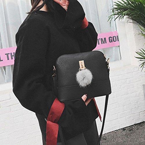 peluche en en Femme PU Couleur Sac Solide Matte boule Sac Portable bandoulière cuir Fille Femmes Arichtop Noir Sac Shell épaule IRtRaBqn