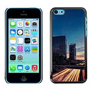 LECELL--Funda protectora / Cubierta / Piel For Apple iPhone 5C -- Traffic Lights Time Evening Night Road --