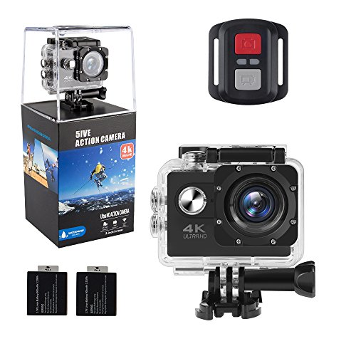 ALOFOX 4K Action Camera 16MP WiFi Waterproof Sports Camera 170 Degree Ultra Wide-Angle Len with SONY Sensor, 2.4G Remote, 30M Waterproof Case, 2 Pcs Rechargeable Batteries and Portable Package ALOFOX