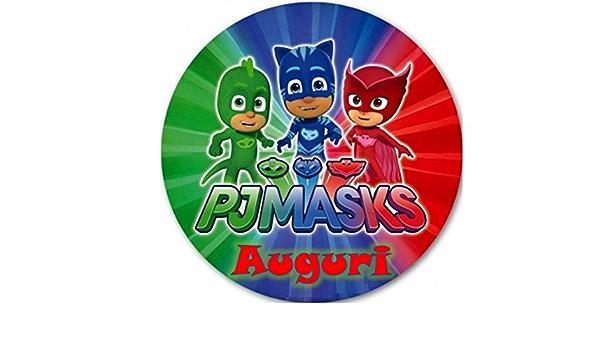 PJ MASKS Super pigiamini cialda de Ostia para tarta personalizable – Kit N ° 13 cdc- (1 cialda de Ostia redonda diámetro 19 cm Impresión sobre Folio ...