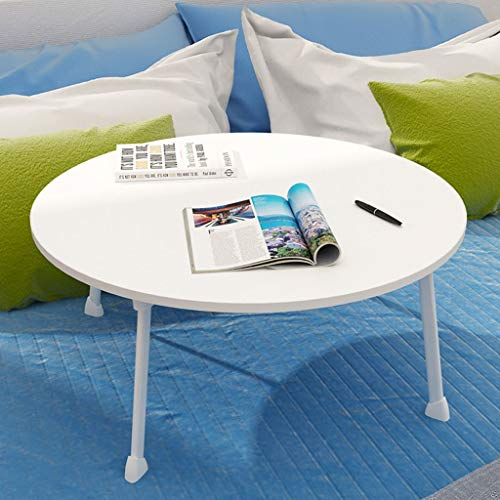RLY Bed Tray Bed Tray with Legs Laptop Folding Table Foldable Coffee Table Round Small Table Laptop Table Portable (70 70 cm) (Color : White)