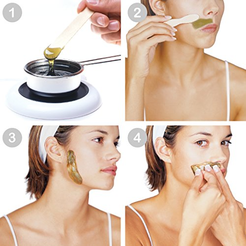 Step-by-step application of a natural wax for hair removal.
