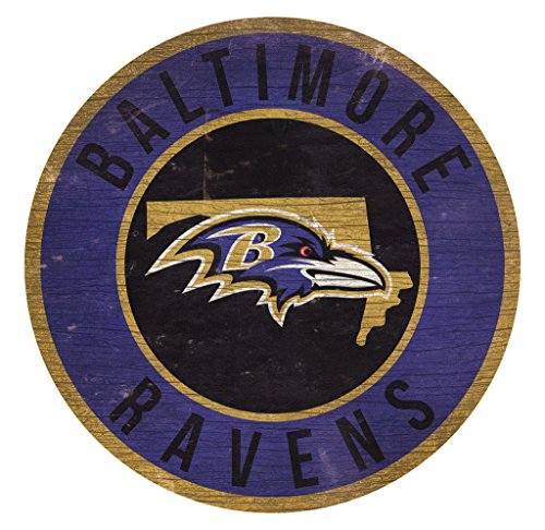 Fan Creations Baltimore Ravens Wood Sign 12 Inch Round State ()