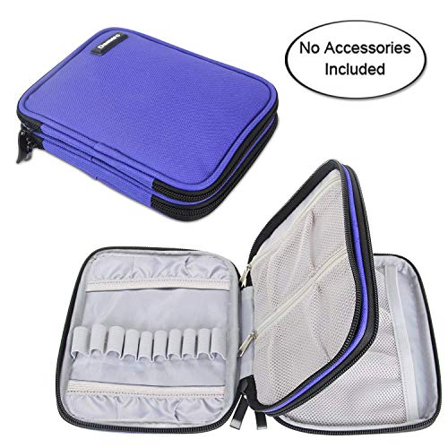 Damero Crochet Hook Case, Organizer Zipper Bag with Web Pockets for Various Crochet Needles and Knitting Accessories, Well Made and Easy to Carry, Medium, Blue Violet (No Accessories Included)