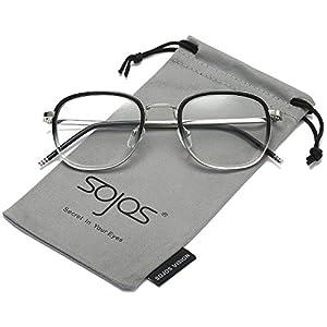 SojoS Square Clear Lens Eyewear Prescription Eyeglasses Frames for Men and Women SJ5017 With Gradient Grey Frame/Silver Temple