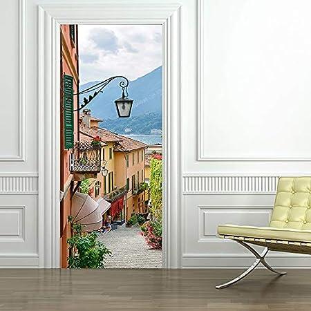 tonywu Papel Tapiz Autoadhesivo de la Puerta del póster - Mural Moderno de la Calle 3D, Restaurante Cocina Desmontable Impermeable, Foto Foto Puerta Película Artista Residencia Decoración: Amazon.es: Hogar