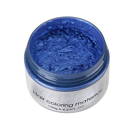 Inkach Hair Dye Wax, Unisex DIY Hair Color Clay Mud Temporary Hairstyle Molding Coloring Hair Cream (Blue) -