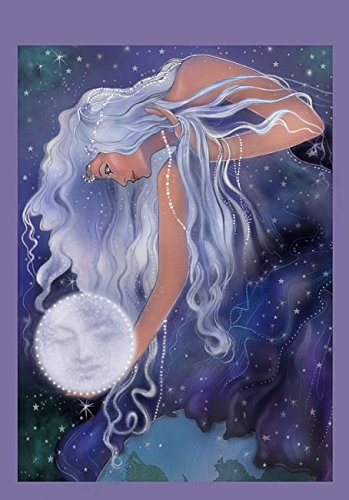 Moon Goddess Selene Banner Tapestry Wall Decor in Brilliant Colored Ink Made in USA - Moon Goddess Art