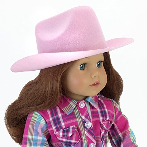 Sophia's Light Pink Cowgirl Doll Hat for The 18 Inch Horse Riding American Girl & More! 18 Inch Doll Light Pink Velvet Cowgirl Hat w/ Decorative Rope on Brim