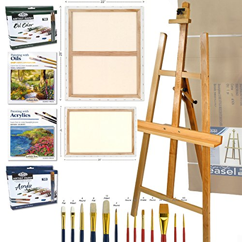 Hardwood Lyre Artist Studio A-Frame Easel with Comprehensive Artist Quality Oil & Acrylic Painting Supplies Set Includes: 36 Tubes of Paint, 2 Large Canvases, 2 Brush Sets, and now with 2 Painting Instruction Books! by Online Art Supplies