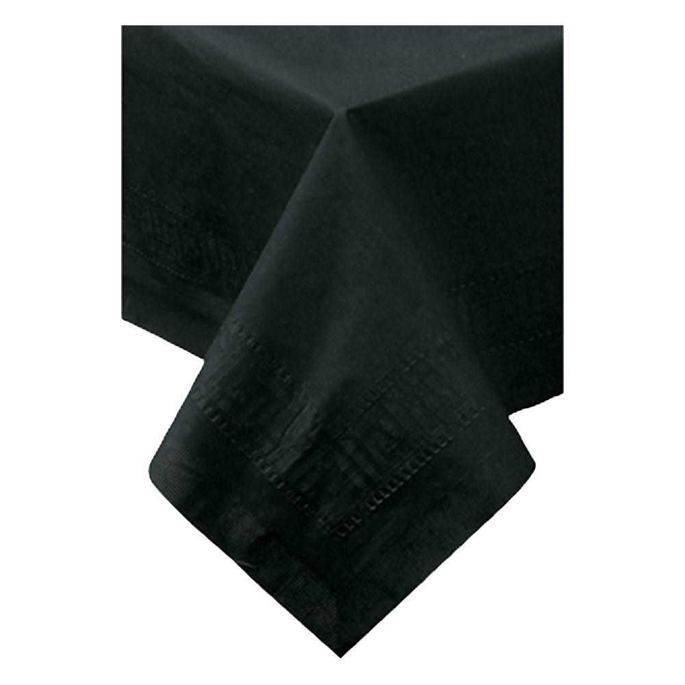 Hoffmaster 220613 Tissue/Poly Tablecover, 3 Ply, 108'' Length x 54'' Width, Black (Case of 25)