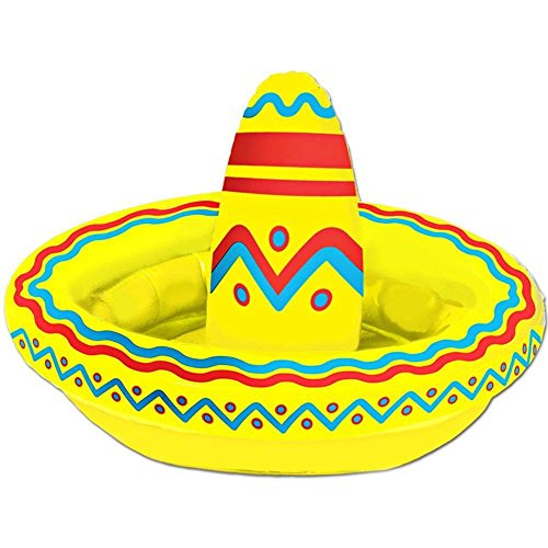 Beistle Inflatable Sombrero Cooler Party Accessory 18-Inch by 12-Inch (1 count), Multicolor, One Size]()