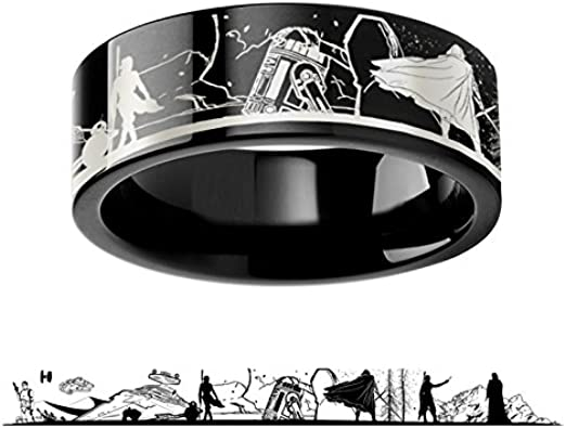 4mm 6mm 8mm 10mm 12mm Lightweight Titanium Comfort Fit Star Wars Polished Tungsten Engraved Ring Jewelry Thorsten Darth Vader Titanium Rings for Men