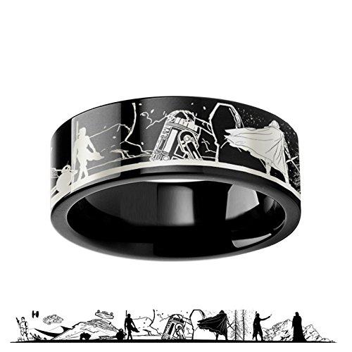Thorsten Rings Star Wars Force Awakens Scene Jakku Luke Skywalker Rey Kylo Ren Scene Black Tungsten Engraved Ring 4mm 6mm 8mm 10mm 12mm