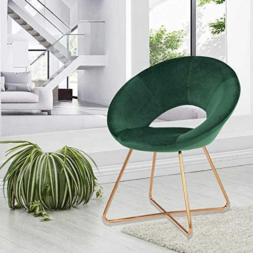 51 1uwF%2BVTL. AC Duhome Modern Accent Velvet Chairs Dining Chairs Single Sofa Comfy Upholstered Arm Chair Living Room Furniture Mid-Century Leisure Lounge Chairs with Golden Metal Frame Legs Set of 2 Dark Green    Product Description