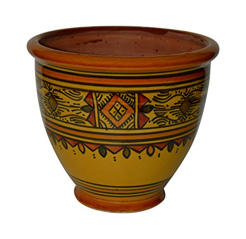 Ceramic Mexican Pots (Flower Pot Moroccan Spanish Garden Drain Hole Ceramic Planter Handmade Yellow)