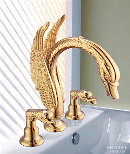 Furesnts Modern home kitchen and Bathroom Sink Taps The golden Basin split leading luxury swan kits Basin Mixer Bathroom Sink Taps,(Standard G 1/2 universal hose ports) by Furesnts Faucet (Image #1)