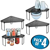 mDesign Corner Plastic/Metal Freestanding Stackable Organizer Shelf for Kitchen Countertop, Pantry or Cabinet for Storing Plates, Mugs, Bowls, Canned Goods, Baking Supplies, 4 Pack - Smoke Gray//Black