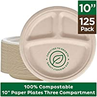 Deal on 100% Compostable Paper Plates [10 inch - 125-Pack] 3 Compartment Disposable Plates Heavy-Duty Quality, Natural...