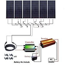 ECO-WORTHY 1000W 1KW Polycrystalline 24v Off Grid Solar Panel Kit:6pcs 160W Poly Solar Panels+45A Charge Controller+1500W Pure Sine Wave Inverter+Solar Cable+MC4 Branch Connectors+Mounting Z Brackets