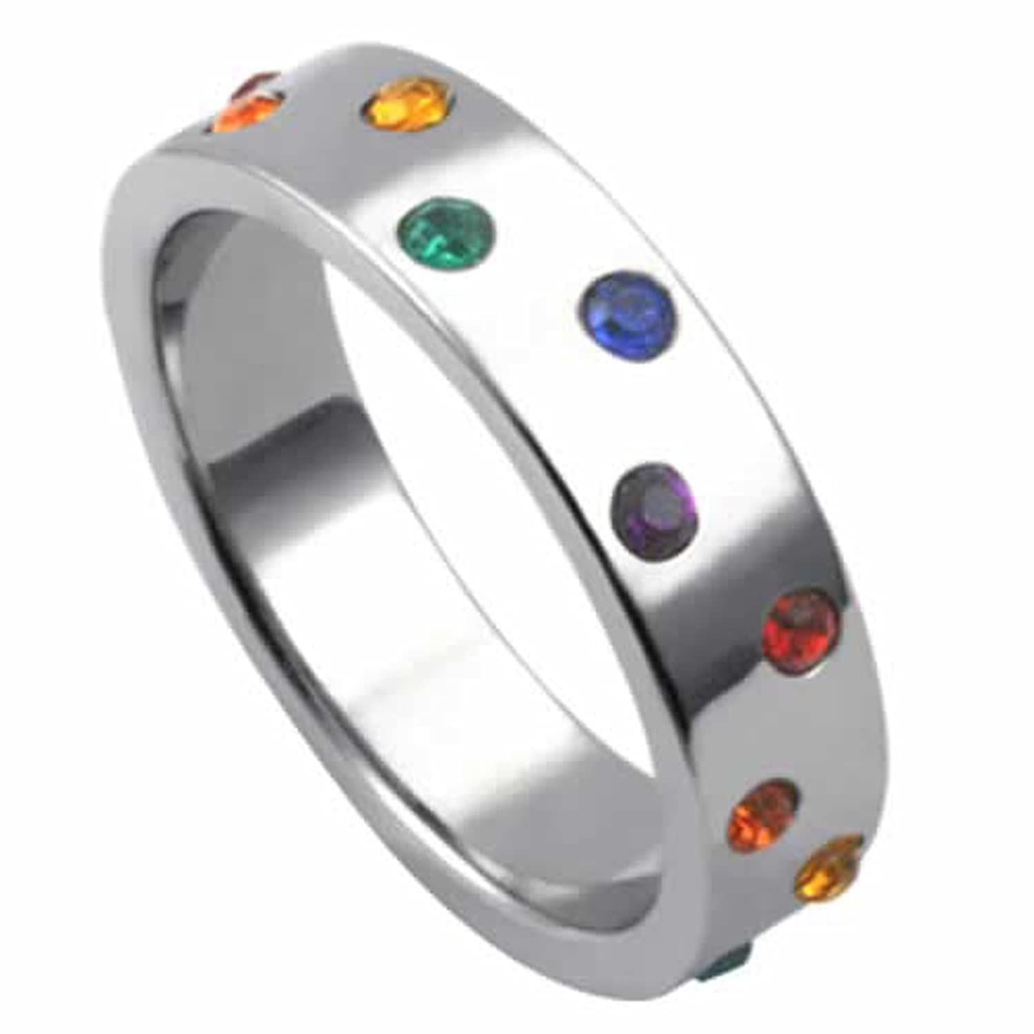 amazoncom gay pride ring with rainbow colored stones love ring couples ring gay pride wedding band wedding ring sets jewelry - Rainbow Wedding Rings