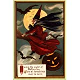 NIGHT OF HALLOWEEN WITCH FLYING BROOM MOON BLACK CAT PUMPKIN BATS LARGE VINTAGE POSTER REPRO