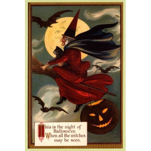 NIGHT OF HALLOWEEN WITCH FLYING BROOM MOON BLACK CAT PUMPKIN BATS LARGE VINTAGE POSTER -