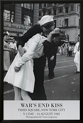 Professionally Framed Victor Jorgensen War's End Kiss VJ Day Art Print Poster - 24x36 with RichAndFramous Black Wood Frame (End Kiss Wars)