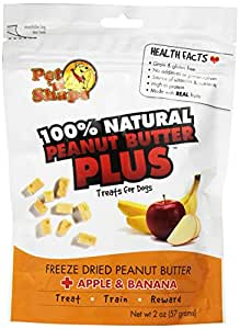Pet 'n Shape Freeze Dried Peanut Butter PLUS Treats for Dogs, Apple and Banana, 100 Percent Natural, 2-Ounce Bag