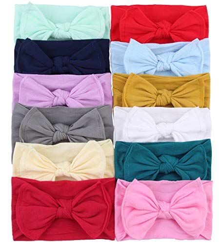 Qandsweet Baby Girl's Beautiful Headbands and Bows Soft Nylon Head Wraps for Photograph (Value Sets of 12)
