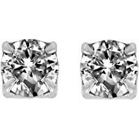 Round Cut Clear Cubic Zirconia CZ Magnetic Sterling Silver Stud Earrings 3mm