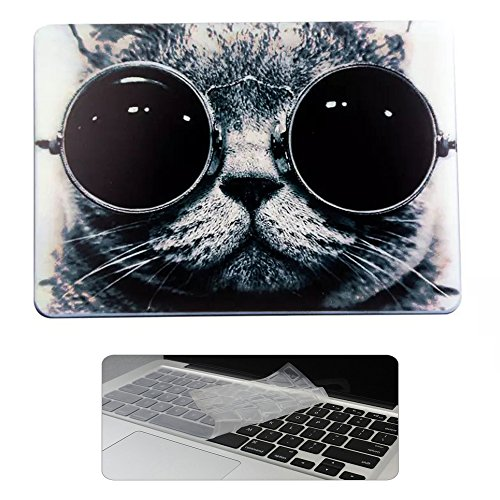 Rinbers Art Fshion Print Soft Touch Rubberized Hard Shell Clip Snap On Case Cover with KB Cover for New Apple MacBook Pro 15 inch 2016 with Touch Bar Touch ID - Models 2016 Sunglass