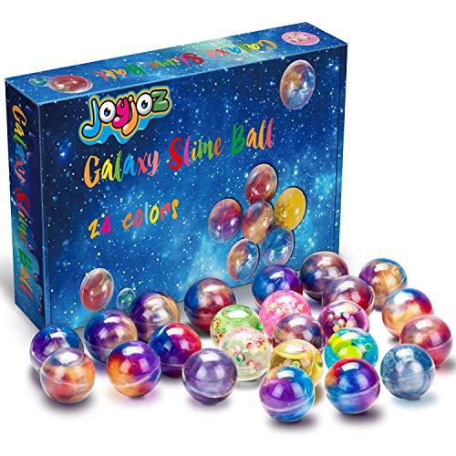Gymnastic Party Favors (Joyjoz 24 Packs Party Favor Galaxy Putty Slime Balls, Fluffy & Stretchy Slime Easter Eggs for Girls & Boys - Non-Sticky, Stress Relief, Super Soft &)