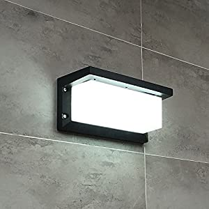 Lightess Wall Light LED Wall Sconce Square Metal Bulkhead Lights Exterior Waterproof Lighting Fixture, Grey Color, 10W Cold White