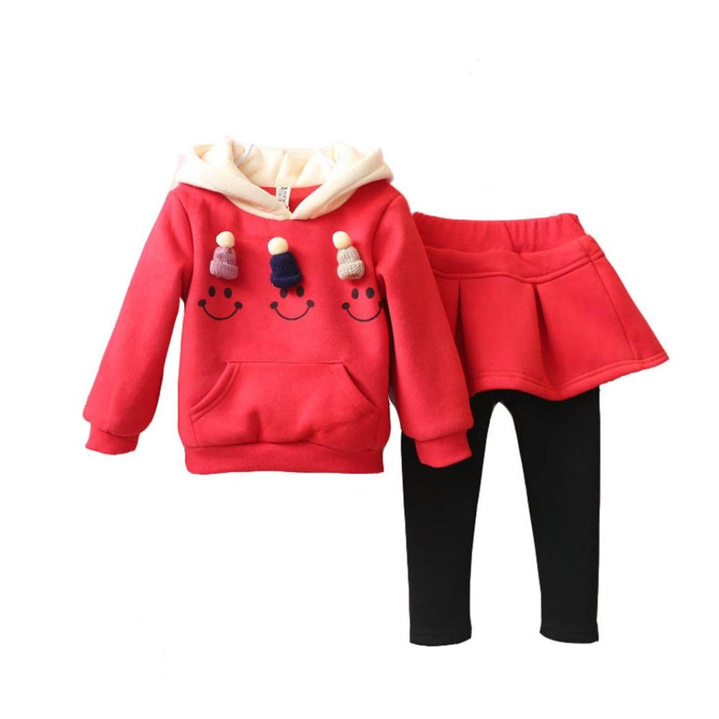 BURFLY® 3-7 Years Baby Girl Dress Skirt Set Outfits Hooded Jumper Sweatshirt With Mini Small Knitted Hat + Dress Pants, Winter Thick Toddler Baby Kids Girls Clothes Set