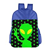 XINYE Children's Alien Yeah Funny Green School Backpack Schoolbag For 4-15 Years Old RoyalBlue